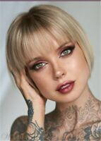 Short Bob  Natural Straight Blonde With Bangs Women Wigs