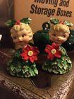 Vintage Holt Howard Christmas Girls Salt & Pepper Holly Poinsettia Tree