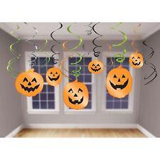 12 x HALLOWEEN Pumpkin Hanging SWIRL DECORATION Party Trick Treat Spooky