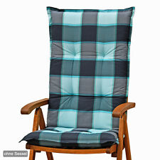 Auflagen für Hochlehner Sessel Gartenmöbel Gartenstuhl Kissen Polster in blau