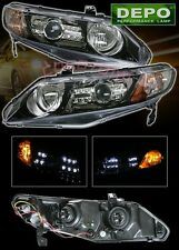 2006-2009 Honda Civic 4D Sedan LED Projector Head Lights BLACK DEPO