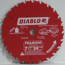 "Freud Diablo D0724PX 7-1/4"" 24TCarbide Circular Framing Saw Blade 5/8 Arbor Wood"