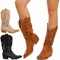 stivali donna estivi stivaletti texani camperos scarpe traforati TOOCOOL G629