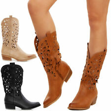 Women's Boots Summer Booties Cowboy Camperos Shoes Perforated Toocool G629
