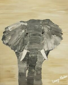 Abstract Original Elephant Canvas Mounted 50x40cm ready to hang