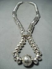 LARGEST NAVAJO HAND WROUGHT TUBULE STERLING SILVER JACLA NECKLACE- SIGNED!