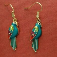 Parrot Earrings bird cute drop dangle animal jewellery gold plated gift Tropical