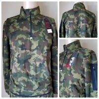 6dc19bb6e79d66 FILA Sport Fleece 2.0 Woodland Camo Half Zip Pullover Sweatshirt Long  Sleeve M
