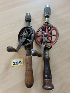 """2 X Vintage Hand Drills Egg Beater Types 12"""" & 14"""" Collectable Retro Old"""