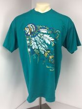 VTG 90s Puffy Paint Native American Indian Cheif Tomohawk Feather T-Shirt sz XL