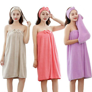 UK Sexy Bathrobe Bath Skirt Cotton Towel for Women Girls Kids Bathrobes Set of 4