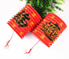 10 Chinese Red Blessing Happiness Fortune Paper Lanterns