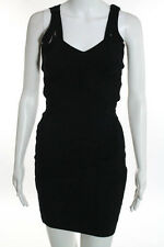 Stretta Black Bandage Bodycon Strappy Back Stretch Dress Size Extra Small