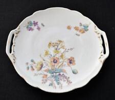 "Antique BSM SCHWALB BROTHERS Porcelain SUMMER BOUQUET 9 1/2"" Handles Cake Plate"