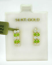 PERIDOT & WHITE SAPPHIRES DANGLING EARRINGS 14k Yellow Gold ** NEW WITH TAG **