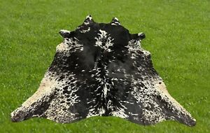 Cowhide Rugs Black Real Hair on Cow Hide Skin Area Rug Leather Decor 5 x 5 ft