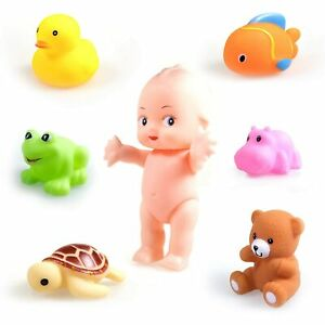 Baby Toys Chu Chu Colorful Squeeze Bath Toy For Toddlers With Doll Set Of 7 Pcs