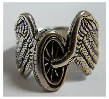 CYCLE WHEEL W WINGS BIKER RING BR96 HEAVY unique style MOTORCYCLE WHEEL JEWELRY