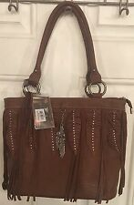 Montana West Feather And Fringe Leather Tote Purse Brown NWT