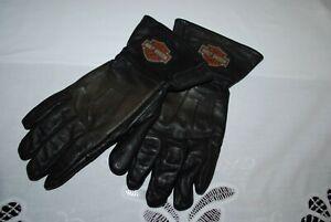 Harley Davidson Motorcycle Riding Gloves Leather HD Logo Black Size XL ~ EUC