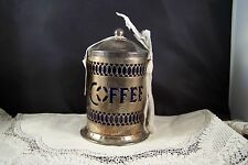 Sheffield Coffee Canister with Blue Insert and Spoon Silver Plated New