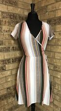 DEREK HEART Women's Size S Faux Wrap DRESS Neutral Stripes Soft Stretch