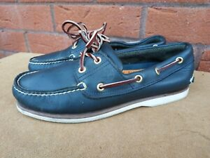 Timberland Mens Navy Leather Deck Boat Shoes Size UK 7M
