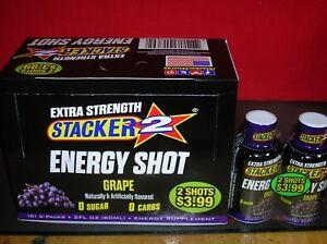 72-EX. STRENGTH GRAPE STACKER ENERGY SHOT - GUARANTEED FRESH-SAVE $$-FAST SHIP