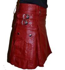 Red Leather Utility Kilt Traditional Scottish Custom Handmade Unisex Adult