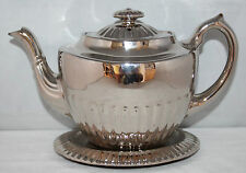 Gibson & Sons - Silvoe Art Ware - Silvered Glaze Teapot & Stand - c1910