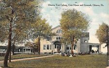 Illinois postcard Ottawa Tent Colony, Club House and Grounds 1909 t.b. treatment