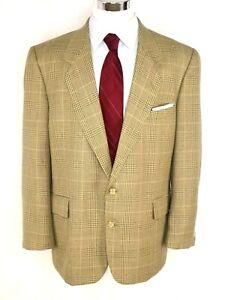 Hardy Amies Men's Sport Coat US 46R Tan Grey Plaid Wool Blend 2-Btn Fully Lined