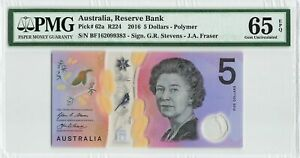 AUSTRALIA 5 Dollars 2016, P-62a Polymer, PMG 65 EPQ Gem UNC, QEII Note