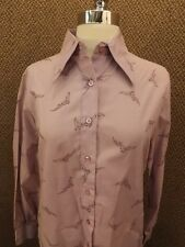 Hipster NOS Vtg 60s Purple Eagle Falcon Birds Button Down Casual Shirt 12 NEW