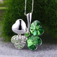 Lucky Clover Herz Anhänger Halskette Kristall vier Blatt Charme Kette Fashi R2J3