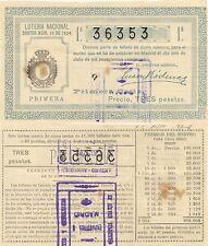 Lotería Nacional. Sorteo Número 19 de 1924. Número 36353.