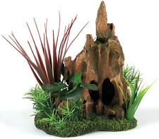 Classic Wood Stump & Plants Vivarium Reptile Decoration Aquarium Ornament 3040