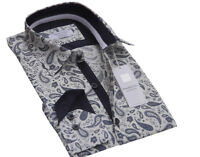 Men`s Pure Cotton White Paisley Designer Shirt Size S to 3XL Formal Casual