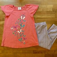 Hanna Andersson Set 130 8 Girls Butterfly Tunic Top Legging Outfit Pink Purple