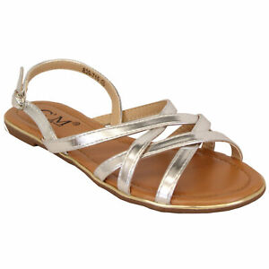 Ladies Flat Sandals Womens Open Toe Buckle Strap Shoes Summer Fashion Party New