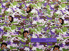 Dora The Explorer Boots Monkey Wild Jungle Camo Cotton Fabric BY THE HALF YARD