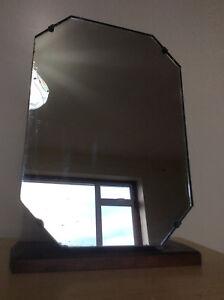 Wooden Dressing Table Vanity Mirror, Art Deco 1920s - 1930s - 1960s? Dark Wood