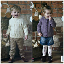 Boys KNITTING PATTERN Childrens Cable Jacket with Collar & Jumper Aran KC 4559