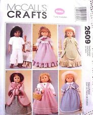 "2609 SEWING PATTERN~UNC~AMERICAN GIRL 18"" DOLL CLOTHES~OLD FASHIONED/COLONIAL++"