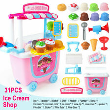 Cute Kids Supermarket Ice Cream Cart Shop Dessert Food Pretend Role Play Set Toy