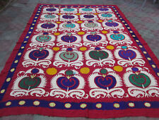 ANTIQUE UZBEK SILK HAND MADE- EMBROIDERED SUZANI 308x210-cm / 121.2x82.6-inches
