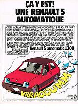 PUBLICITE  1978   RENAULT 5 AUTOMATIC 1300