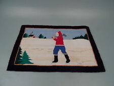 Vintage Grenfell Miniature Hooked Rug - Lumberjack Winter Scene - Labelled VR