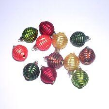 24 Miniaturkugeln 14mm GLAS Herbstfarben gerillt