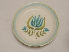 6 Franciscan stoneware Tulip Time 1963-73 lot of 6 DINNER PLATES aqua